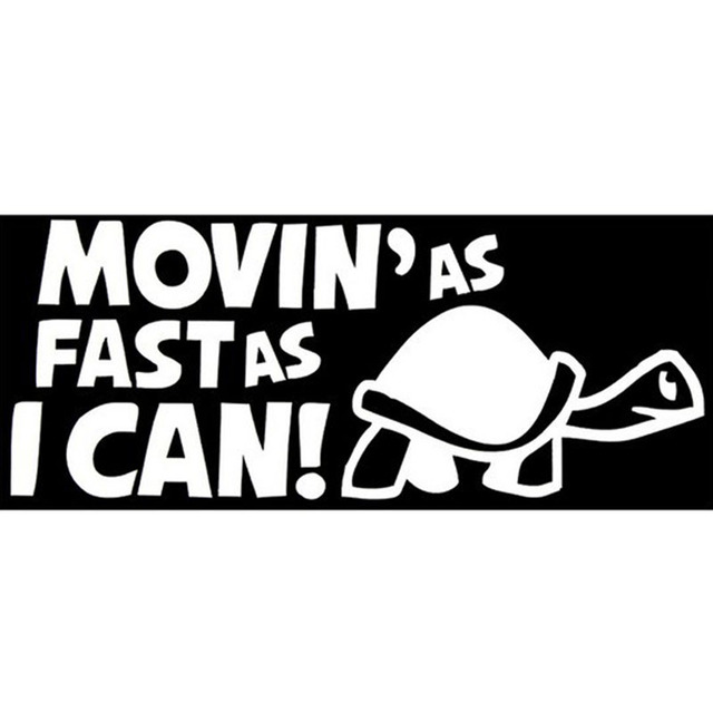 208cm movinas fast as i can funny car personality reflective car stickers