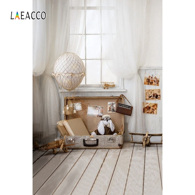Laeacco Curtain Window Luggage Box Models Baby Room Photography Backgrounds Customized Photographic Backdrops For Photo Studio