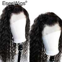 Eseewigs 180 Density 360 Lace Frontal Wig Pre Plucked with Baby Hair Brazilian Deep Wave Black Remy Human Hair Front Lace Wigs