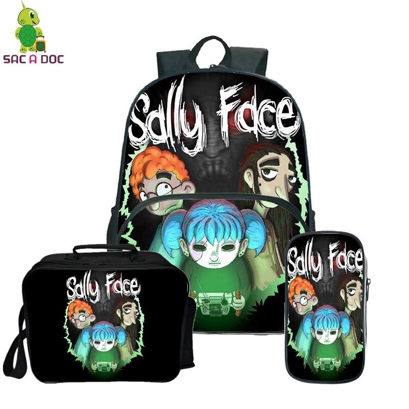 Sally Face Rugzak pour sac adolescent filles garçons bande dessinée école sac à dos avec trousse mignonne Kawaii Anti-vol sac à dos 3 pièces/ensembles