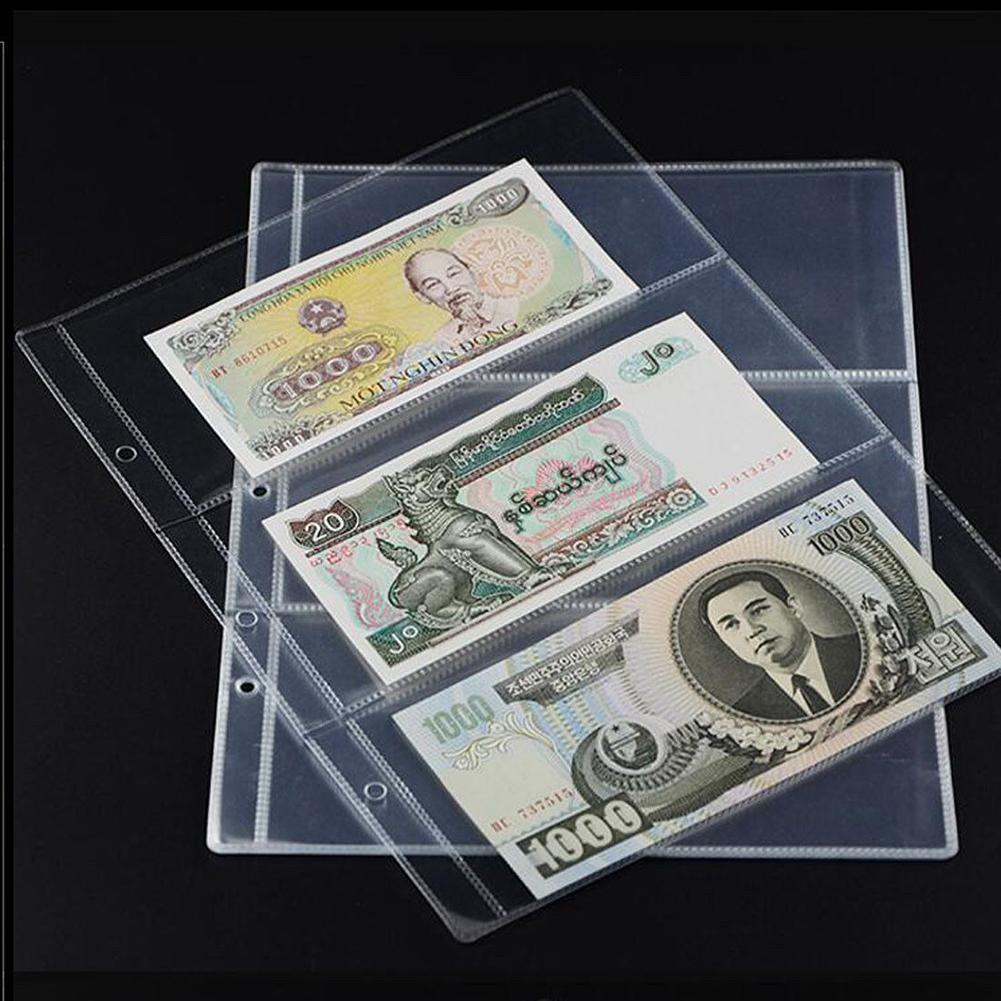 10 Uds dinero billete de Banco colector titular mangas 3-Ranura hoja suelta hoja álbum de moda