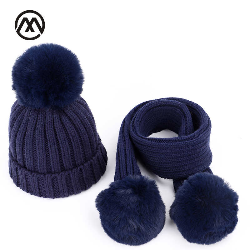 Autumn and winter children knit cotton cap warm kids pompoms boy girl universal fur hat solid color fashion Scarf Hat Glove Sets
