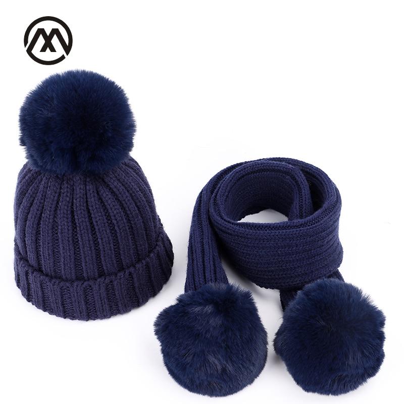 Autumn And Winter Children Knit Cotton Cap Warm Kids Pompoms Boy Girl Universal Fur Hat Solid Color Fashion Scarf Hat Glove Sets