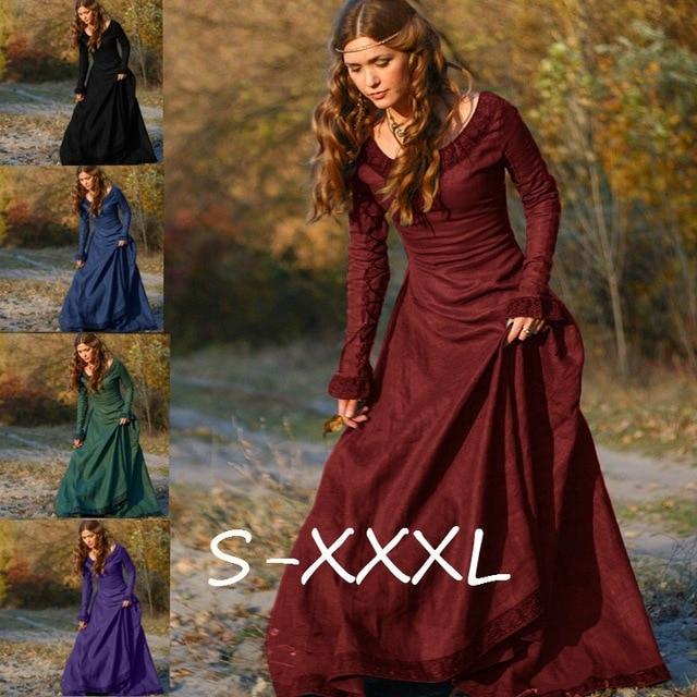 0a5a8af9 vintage palace style slim renaissance dress Robe black purple green burgundy  Women long sleeve o-neck bodycon long maxi dress