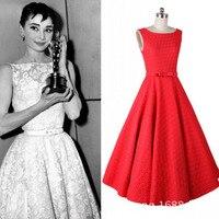 Audrey Hepburn Style Retro Vintage Pinup 50s Rockabilly Crochet Lace Sleeveless Slim Big Swing Elegant Dress Red/White Plus Size