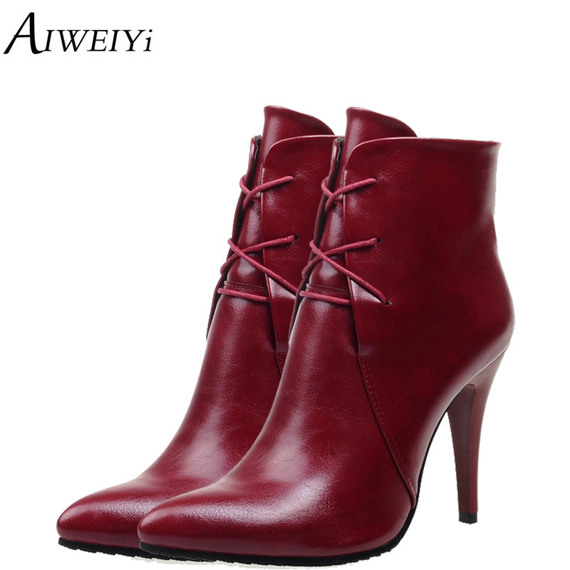 AIWEIYi 2018 Women Ankle Boots Lace Up Pointed Toe Pu Leather Thin High Heel Short Boots Ladies Casual Shoes Woman Black Booties pointed toe lace up women ankle boots fashion ladies autumn winter flat heels cuasual boots shoes woman motorcycle short booties