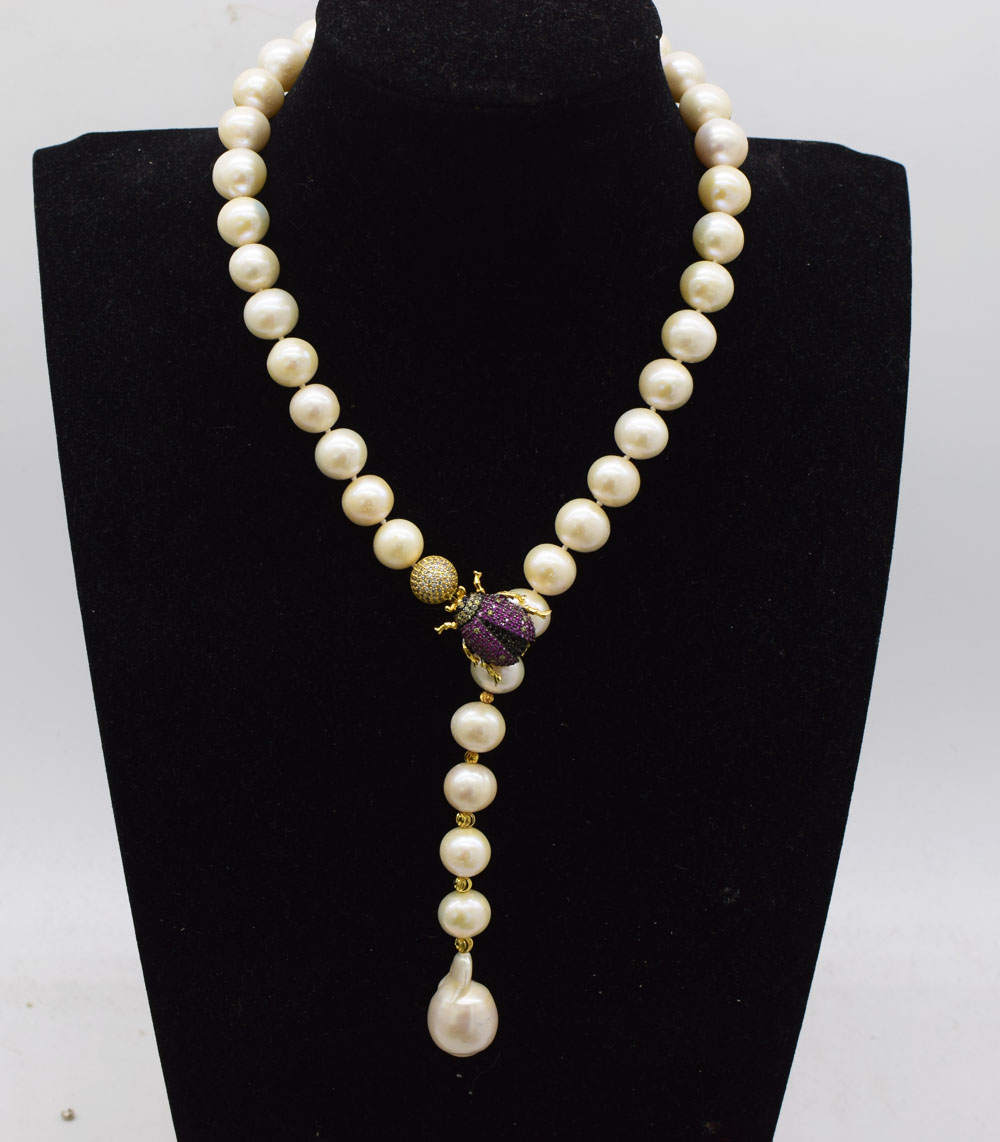 wholesale  freshwater pearl  white round AA 11-12mm insect hook   necklace 19inch  FPPJ nature beads reborn keshi dropwholesale  freshwater pearl  white round AA 11-12mm insect hook   necklace 19inch  FPPJ nature beads reborn keshi drop