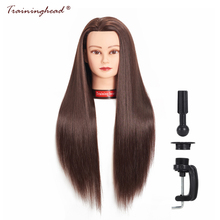 "Traininghead 26-28 ""Mannequin Head 100% Bra Syntetisk Fiber Hair Professional Bride Frisör Kosmetologi Doll Training Head"