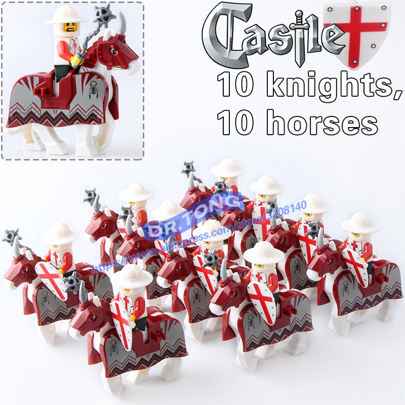 20pcs/lot Knights War RED Horse Knights King with Heavy Armor Crusader Medieval Knights ROME Horse Building Blocks Toys X0158 цены