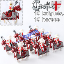 20pcs/lot Knights War RED Horse Knights King with Heavy Armor Crusader Medieval Knights ROME Horse Building Blocks Toys X0158