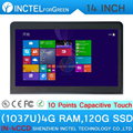 Latest 14 inch embedded all in one pc touch screen all in one pc with1037u 4G RAM 120G SSD