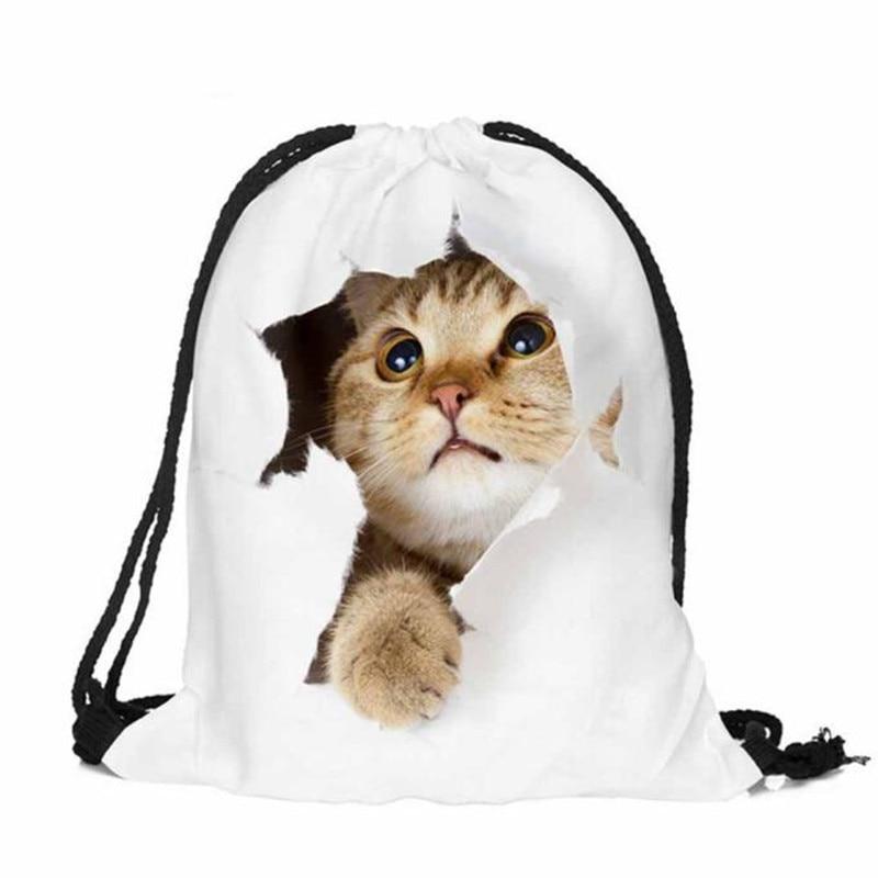 Hot sale Women backpack Men bags 3Dprinting backpacks brand new Classic forever Cat escape mochila escolar Travel drawstring bag