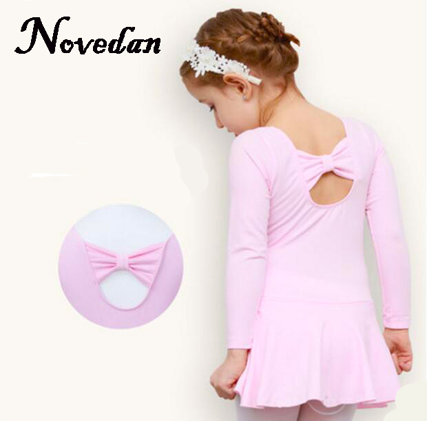 Children's Girls Ballet Clothes Long Sleeve Kids Child Pink Ballet Dance Leotard Dress Gymnastic Leotards For Girls