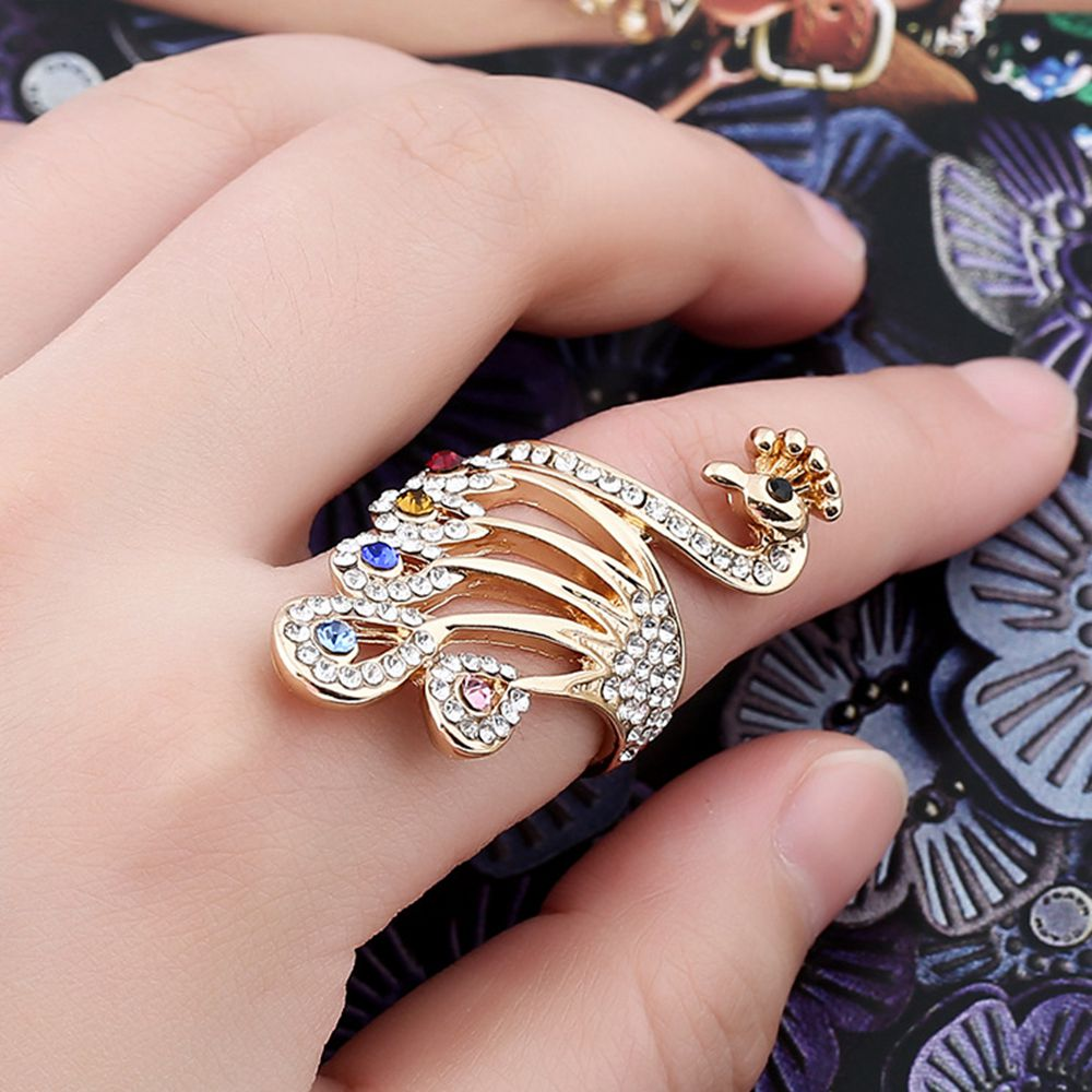 1 Pc 2017 New Design Animal Colorful Crystal Rhinestone Peacock Rings for Women Bohemian Style Fashion Wedding Vintage Ring
