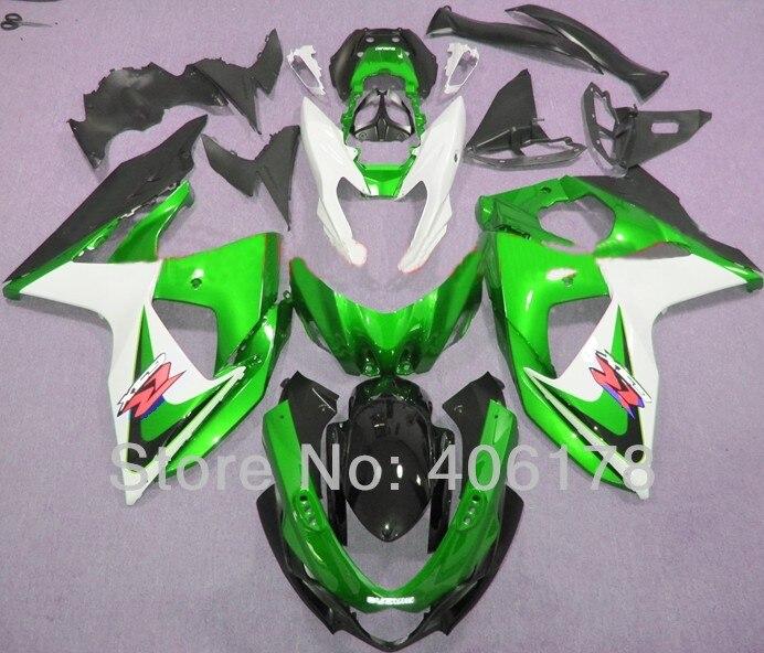 Лидер продаж, k9 GSXR1000 09 10 11 12 13 14 обтекатель набор для Suzuki GSX-R1000 Зеленый Белый мотоциклов Обтекатели (литья под давлением)