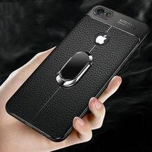 Alxun para iphone 7 8 plus caso de couro de luxo com suporte anel ímã capa traseira para iphone 7 8 7plus 8 mais caso coque capa