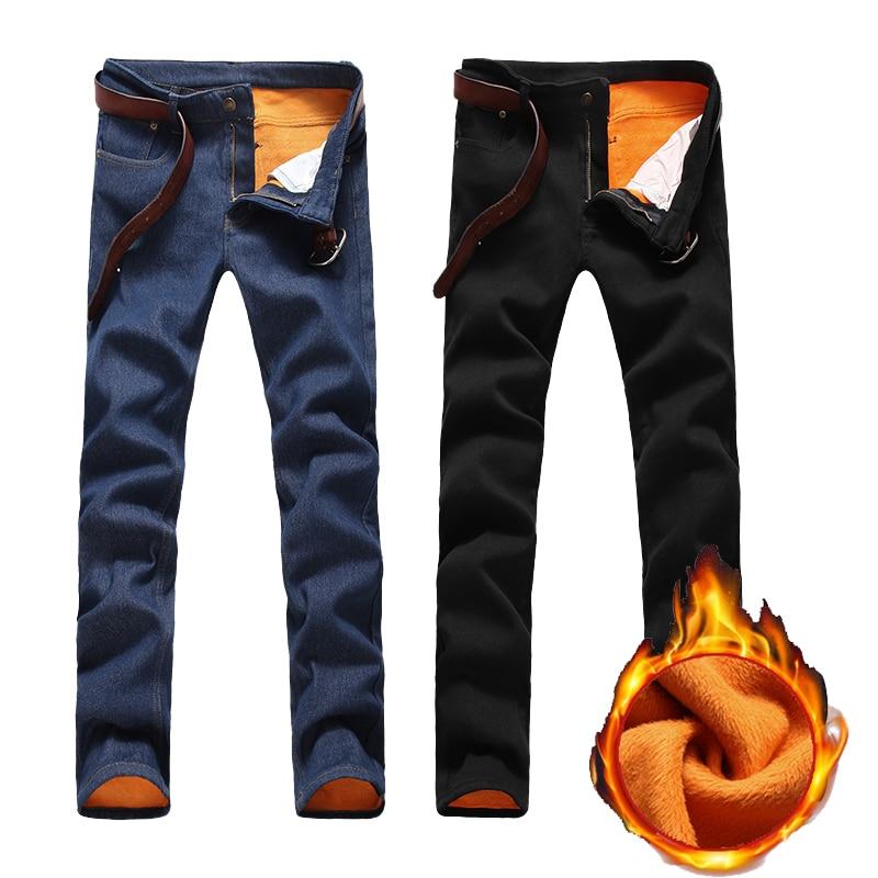 Mens Winter Jeans Mens Fashion Casual Slim Plus Thick Velvet Warm Denim Pencil Pants High Quality Cotton Cowboy Trousers Size 38