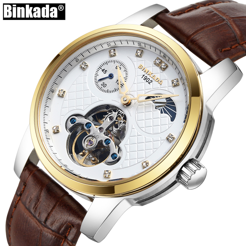 BINKADA Top Brand Luxury Business Men Casual Automatic Wrist watch Moon Phase Mens Watches Sapphire Fashion Mechanical Watch sollen mens watches top brand luxury moon phase automatic mechanical watch men casual fashion leather strap skeleton wristwatch