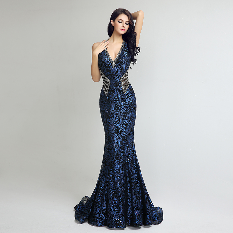 Elegant Gown Design Long Mermaid Evening Dresses Sexy V Neck Beading Women Plus Size Dress Hot Sale Formal Party Gowns LX235 3