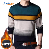 Covrlge Christmas Sweater For Men 2017 Winter Warm Knitted Sweaters Velvet Thick Plus Size Pullovers Casual