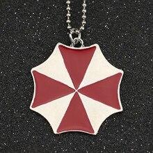 Biohazard Necklace Alice Umbrella Corporation Red Enamel Silver Color Pendant Logo Fashion New Movie Game Jewelry Men Wholesale