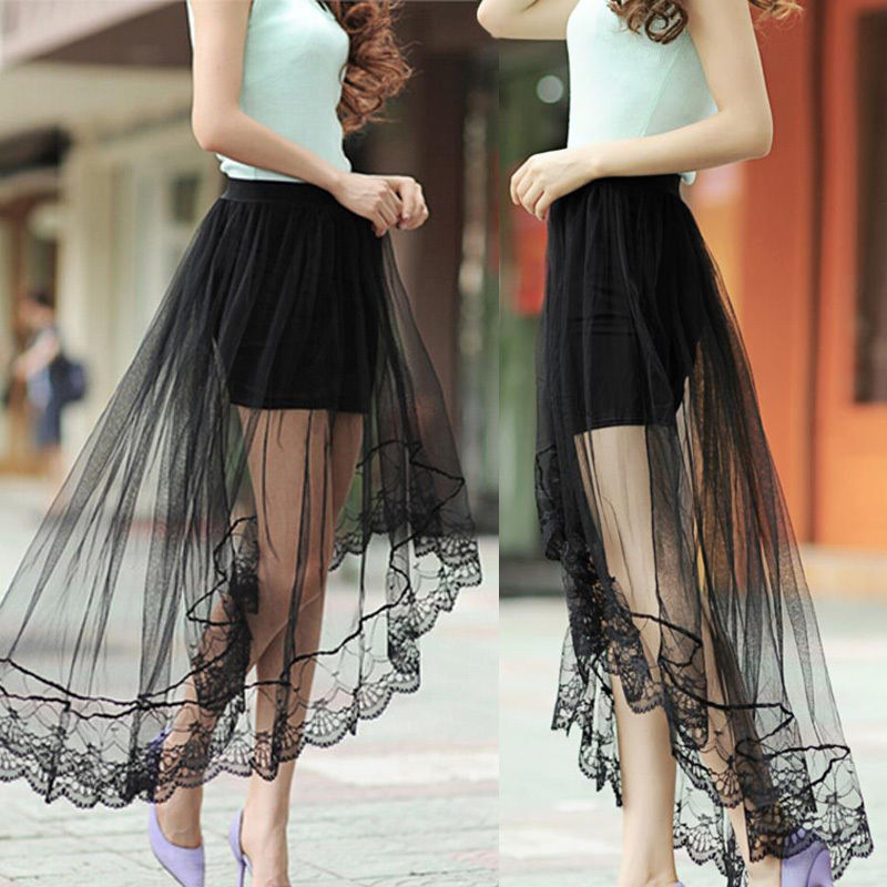 Mesh Lace Skirt Sexy Women Lady Pettiskirt High Waist Plain Skater Flared Pleated Mini Skirt Shorts Drop Shipping Party Dance