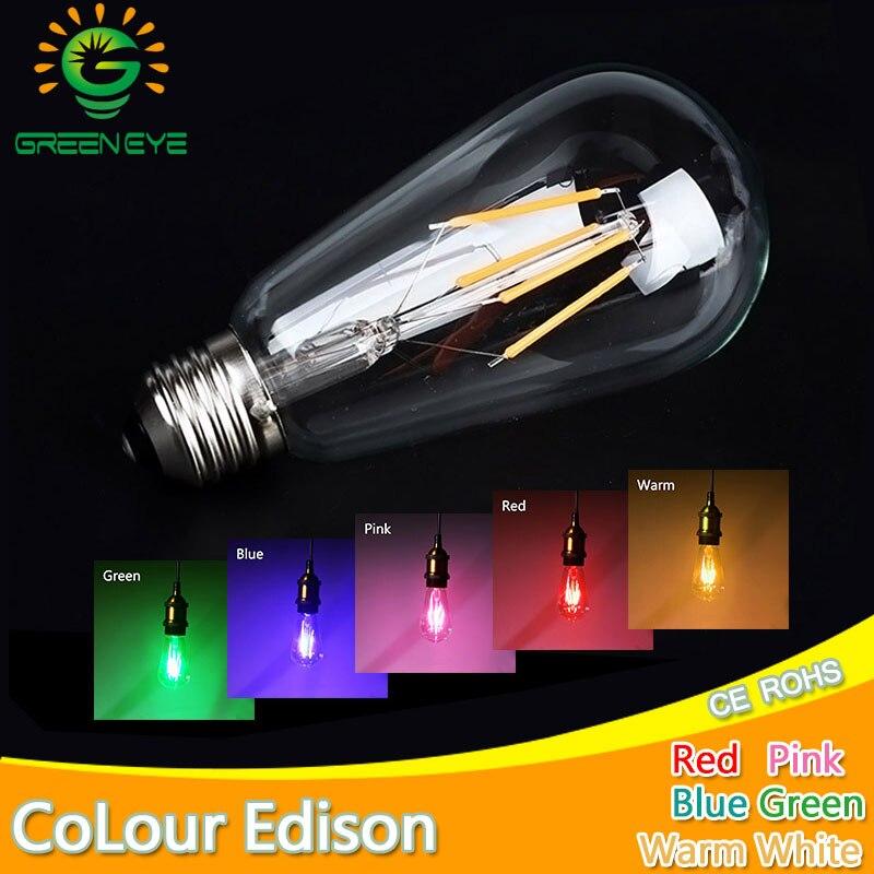 Blue Red Pink Green Color Led Edison Filament Light ST64 COB LED Bulb Lamp 220v E27 Retro Globe Replace Incandescent Warm White