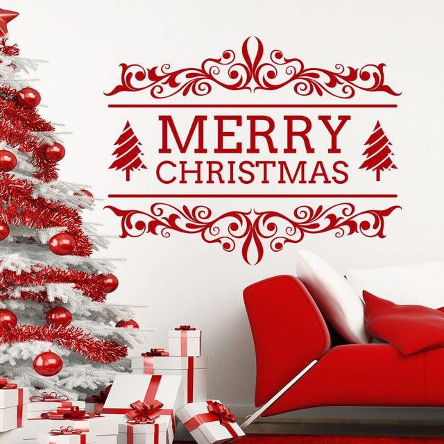 Top Vente Joyeux Noel Fenetre Decor Papier Peint Vinyle Arbre Art