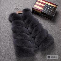 高品質フェイクキツネの毛皮のベスト女性レッドベスト冬厚い暖かい毛皮のベストファッション高級コート毛皮ジャケットジレ女性w1975