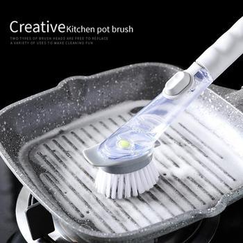 طبق ماتيتش الغسيل فرشاة الإسفنج مع موزع سائل و Dishmatic الغيارات المطبخ وعاء نظافة أدوات
