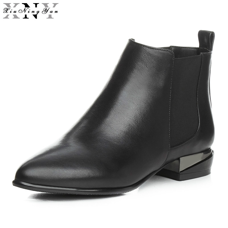 XiuNingYan Women Ankle Boots Black Genuine Leather Low Heels Handmade High Quality Winter Shoes Woman Ladies Short Boots 2017 bacia genuine leather boots short plush women shoes black simple style ankle boots with zipper handmade high quality shoes vd021