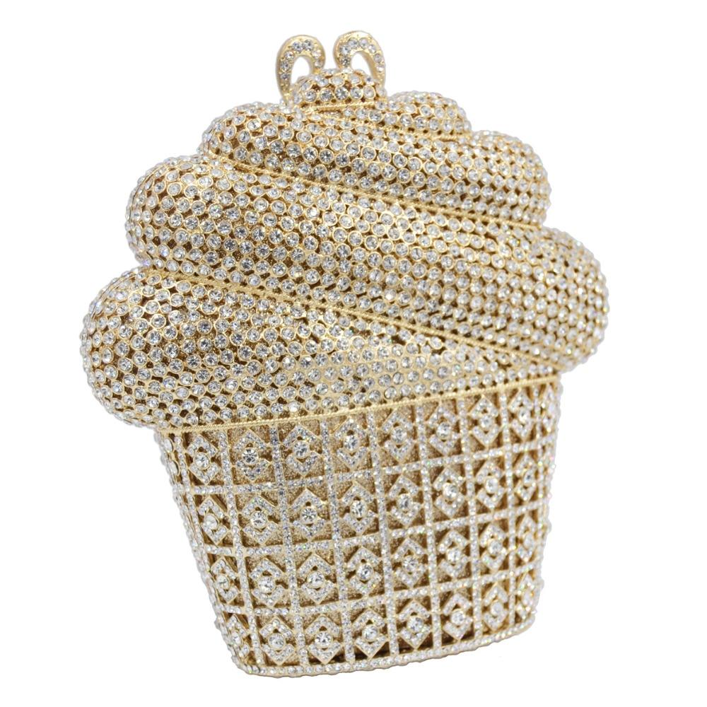 Date de luxe glace cristal sac de soirée or argent CupCake fête de mariage bal embrayage sac à main chaîne sac à bandoulière SC621-in Embrayages from Baggages et sacs    3