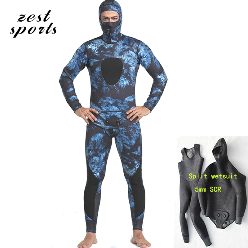 5mm men neoprene diving suit,split wetsuit , Siamese Vest-style + hooded jacket,Fishing and hunting camouflage clothing  MY080 mens camouflage 3mm neoprene wetsuit weight belt vest veste for spearfishing fishing clothes women