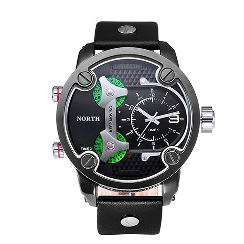 Men Sports Watches NORTH Brand Fashion Men's Quartz Hour Clock Man Leather Army Waterproof Wrist Watch Sport Men 6001 black box weide new men quartz casual watch army military sports watch waterproof back light men watches alarm clock multiple time zone