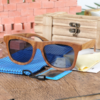 BOBO VOGEL AG014 Eenvoudige Retro Gepolariseerde Zonnebril Vrouwen Mannen Volledige Houten Frame En Grijs Lens oculos de sol Als Best Gift Drop schip