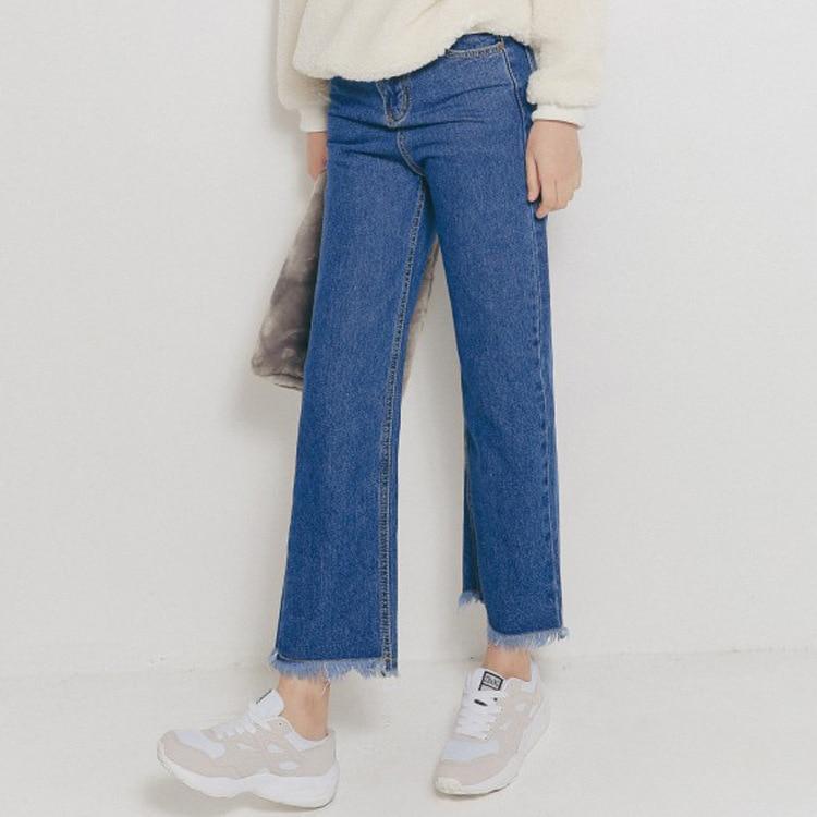 2016 spring high waist wide leg jeans female casual fringed Women Jeans Fashion Retro Loose Blue Boyfriend Denim Pants S2113