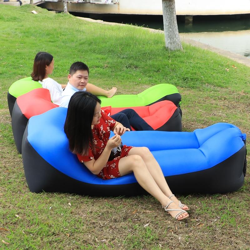 Fast Inflatable Chaise Lounge Outdoor Portable Air Beach Chair Camping Sofa Sleeping Lazy Bag Air Sofa Bed Lounger Chair