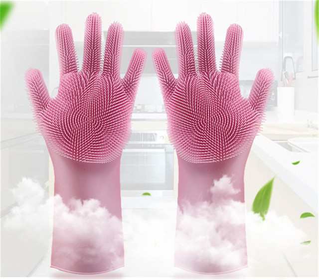 1 Pair Silicone Kitchen Dish Scrubber Rubber Gloves Food Grade Cleaning Sponge Dishwashing Brushs Magic Silicon Gloves