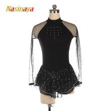 Nasinaya Figure Skating Dress Ice Skating Skirt for Girl Women Kids Customized Competition black white rose pink mesh shiny