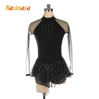 Nasinaya Figure Skating Dress Ice Skating Skirt for Girl Women Kids Customized Competition black white rose pink mesh shiny