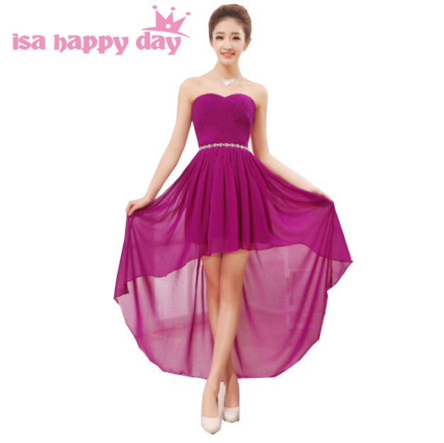 Trasero largo delantero corto barato púrpura oscuro corsé vestidos ...