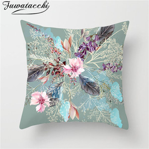 Fuwatacchi Flower Plant Cushion Cover  Home Bed Decoratives Pillows Case Olive Classical Bird Wedding Decor Throw Pillows Cover