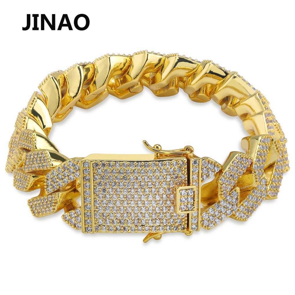 JINAO Mode 20mm Cubaanse Link Armband Micro Pave AAA Cubic Zirkoon Ketting Armband Alle Iced Out Charm Hip Hop sieraden Voor Mannelijke-in Schakel & Link Armbanden van Sieraden & accessoires op  Groep 1