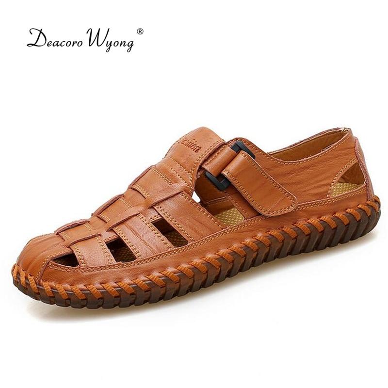 2018 новые летние мужские сандалии полые повседневные дышащие кожаные сандалии легкие и мягкие мужские туфли большие размеры пляжная обувь