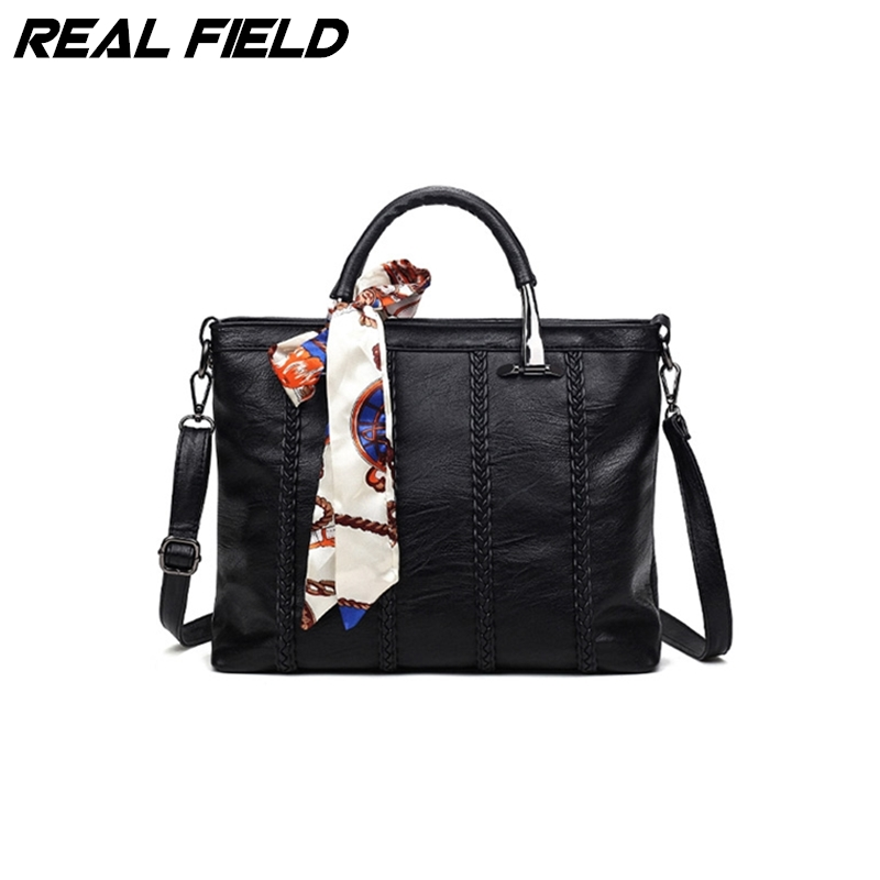 ФОТО Real Field Brand Women Ombre Tote Handbag Shoulder Ladies PU Leather Messenger Knitting Large Bags with Scarves 177