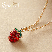 Special New Fashion Gold Plated Necklaces & Pendants Lovely Enamel Strawberry Maxi Necklace Jewelry Gifts for Women S1618N недорого