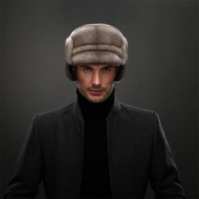IANLAN Top Grade Mens Full-pelt Mink Fur Bomber Hats Real Mink Fur Earmuffs  Hat 494e2cac0b59