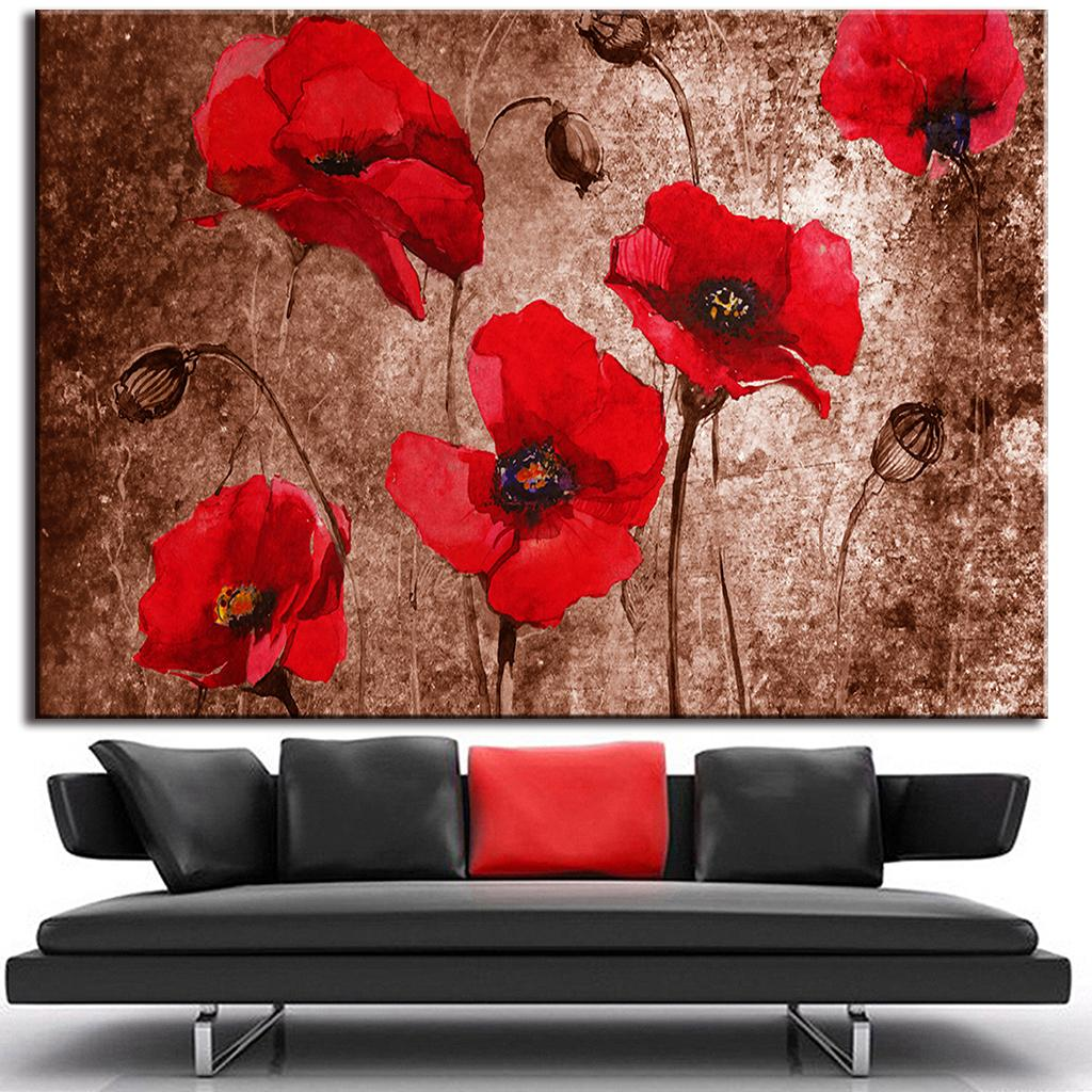 1 Huge Pce Abstract Flower Red Poppies Painting On Canvas Print Home