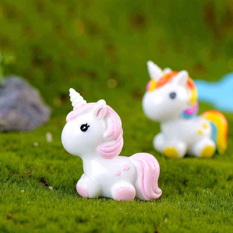 1 cái cao 4.6 cm Rainbow Kỳ Lân động vật Khu Vườn thu nhỏ phụ kiện hiện đại Vườn Cổ Tích Pop thu nhỏ các bức tượng nhỏ Vườn Cổ Tích