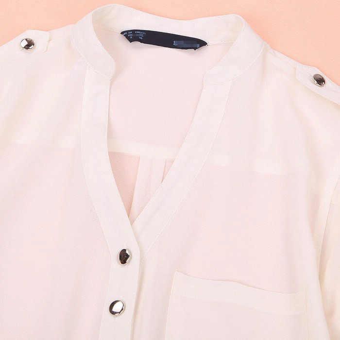 JAYCOSIN Casual mujer camisa primavera 1 pieza superior verano gasa manga larga Sexy cuello en V blusa completa 2019 0311